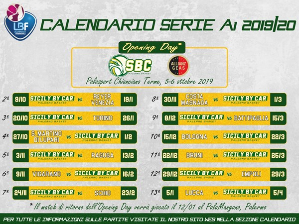 Calendario Serie A 2 Basket.Ufficiali I Calendari Di Serie A1 Per Sicily By Car Palermo